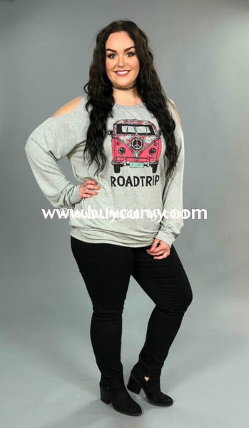 Gt-B Roadtrip Gray Cold Shoulder Top With Pink Hippie Bus Graphic