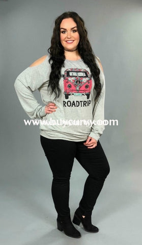 8552edf485c8c Gt-B Roadtrip Gray Cold Shoulder Top With Pink Hippie Bus Graphic