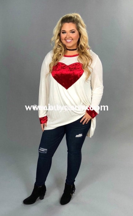 Gt-C Oddi Ivory Tunic With Red Velvet Heart & Detail Graphic