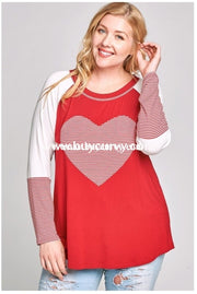 Gt-D {Lost In Love} Dark Red Top With Striped Heart & Sleeves Graphic