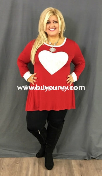 Gt-D Oddi Red Tunic With White Velvet Heart Graphic
