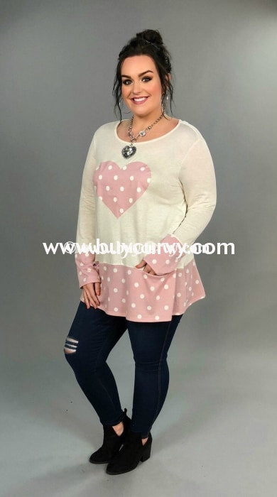 Gt-E Cream Knit With Pink Polka-Dot Heart & Detail Sale!! Graphic