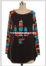 Gt-G Black Top With Cactus Patch & Aztec Print Sleeves Graphic