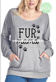 Gt-G {Fur Mama} Gray French Terry Top W/ Front Pocket Graphic