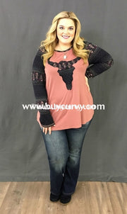 Gt-G Long Sleeved Mauve Top With Paisley Bullhead Patch Graphic