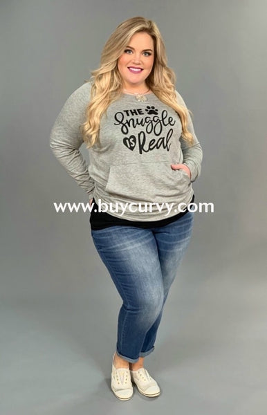 Gt-G {The Snuggle Is Real} Gray Paw Print Top With Pocket Graphic