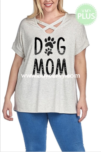 Gt-H Two Tone Oatmeal Dog Mom Criss Cross Sale!! Graphic