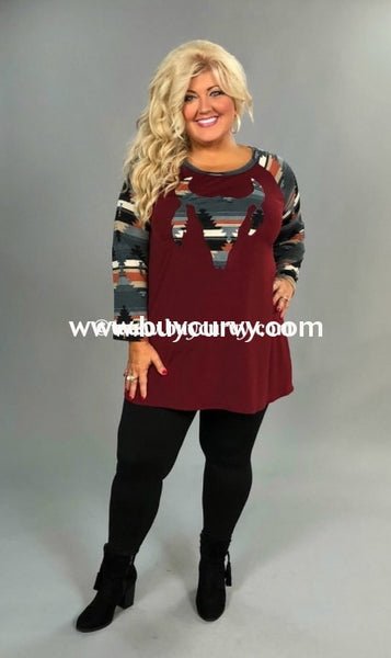 Gt-I Burgundy With Bullhead Patch Top Aztec Print Sleeves Graphic