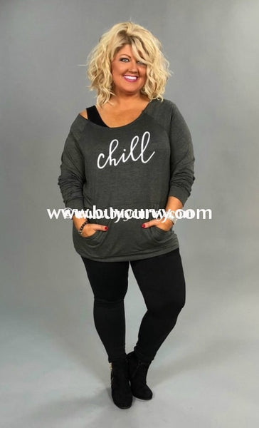 Gt-I Chill Charcoal Tunic With Off Shoulder Detail Graphic
