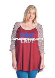 Gt-I First Lady Sale!! Burgundy With 3/4 Striped Sleeves Graphic