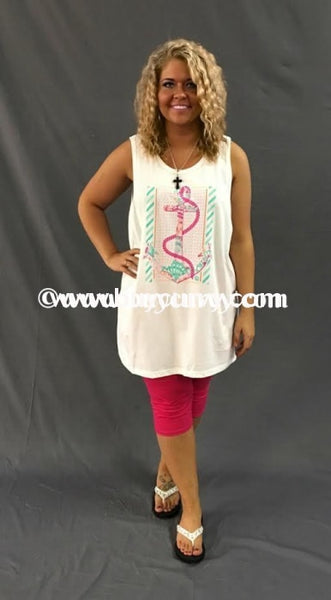 Gt-J Girlie Girl White With Pink/aqua Anchor Design Sale!! Graphic