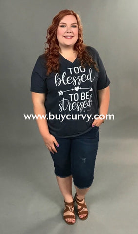36decf9c41c8c Gt-K Girlie Girl Navy  Too Blessed To Be Stressed  Tee Graphic