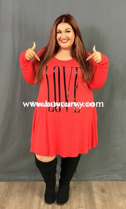 Gt-K Red Love Printed Long Sleeved Dress With Pockets Graphic