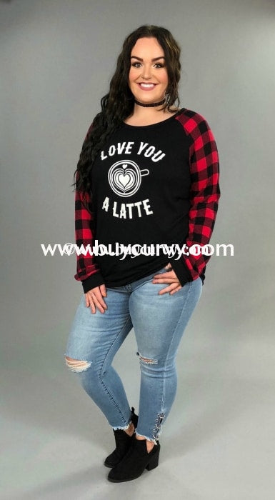Gt- Love You A Latte Black Top With Plaid Sleeves Graphic