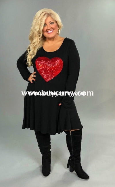 Gt-M Black Long Sleeved Dress With Red Sequined Heart Graphic
