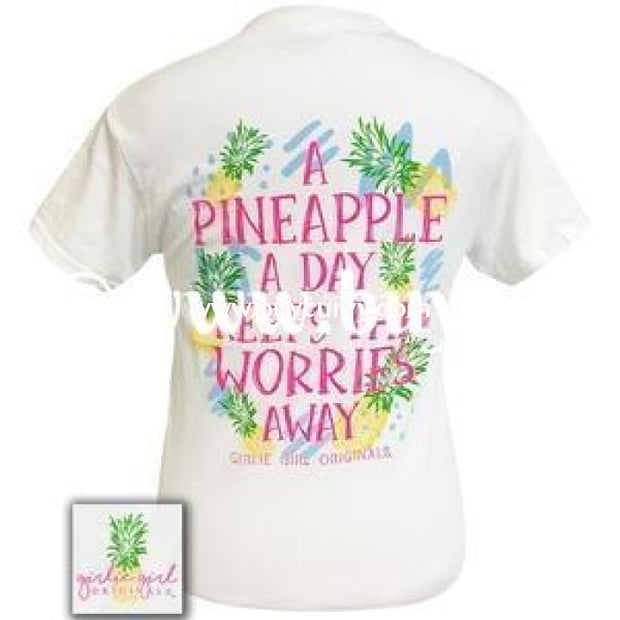 Gt-M Girlie Girl White Pineapple A Day Keeps The Worries Away Sale!! Graphic