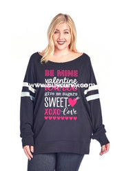 Gt-M Midnight Black Top {Be Mine Valentine Xoxo} Graphic