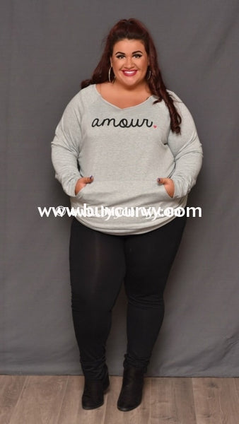 Gt-M Pewter Gray Amour Sweatshirt Fleece Lining Graphic