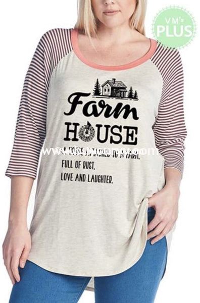 Gt-N {Farm House} Oatmeal Raglan Tee With Striped Sleeves Graphic