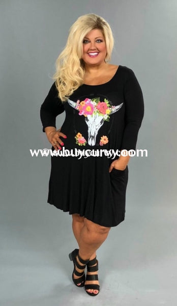 Gt-O Black Tunic Or Dress With Floral Bull Head & Pockets Graphic