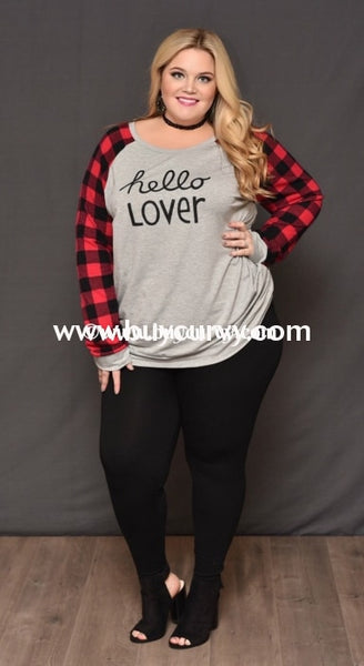 Gt-O Cloud Gray Hello Lover Top With Plaid Sleeves Graphic