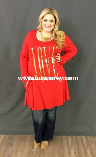 Gt-O {Extended Plus} Love Red Dress With Pockets Graphic