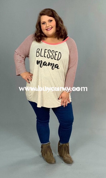 Gt-P {Blessed Mama} Oatmeal Raglan Tee With Striped Sleeves Graphic