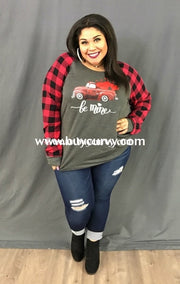 Gt-T Be Mine French Terry Top With Plaid Sleeves Red Truck/hearts Graphic