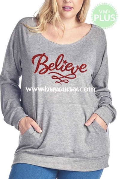 Gt-T {Believe} Gray Top With Red Letters & Front Pocket Graphic
