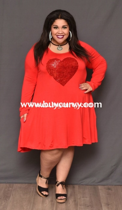 Gt-V Red Long Sleeved Dress With Sequined Heart Graphic