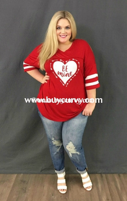 Gt-X Be Mine Red V-Neck Jersey Heart Sale! With Striped Sleeves Graphic