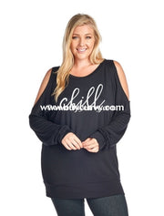 Gt-X Chill Black Tunic With Cut-Out Shoulders Graphic