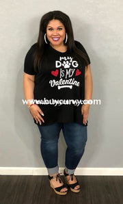 Gt-Y {My Dog Is My Valentine} French Terry Black V-Neck Top Graphic