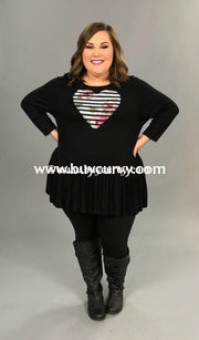 Gt-Z {All My Love} Black Ruffle Tunic With Striped Floral Heart Graphic