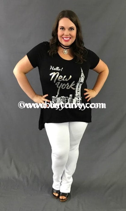 Gt-Z Black Hello New York Top With Silver Letters Graphic