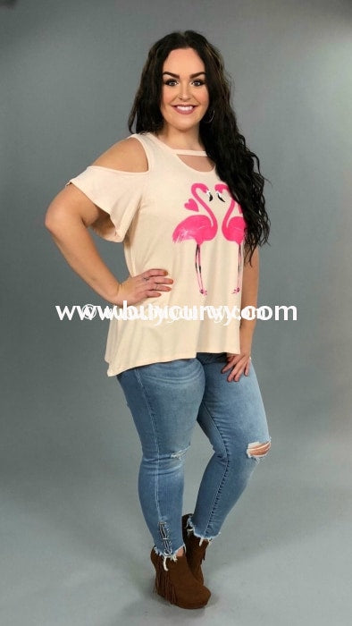 Gt-Z {Sale!!} Cold-Shoulder Blush With Pink Flamingos Graphic