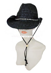 Hat-Black Straw Cowgirl Hat With Rhinestone Band Hats