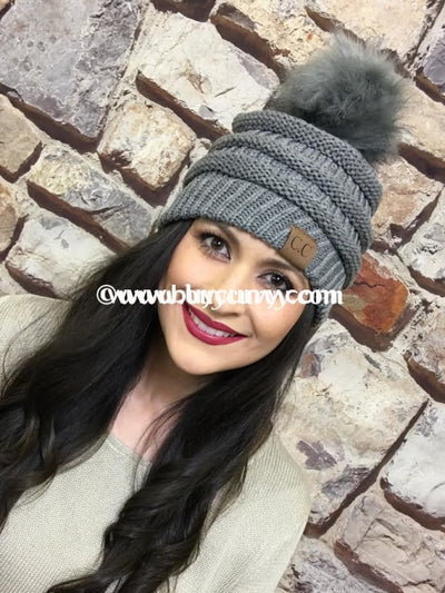 Hat-C.c. Beanie With Fur Ball Grey Hats
