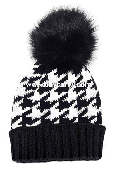 Hat-C Black & White Houndstooth Print Beanie Hat Hats