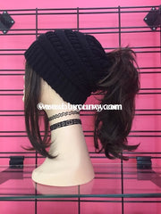 Hat C.c. Messy Bun Beanie Black Hats