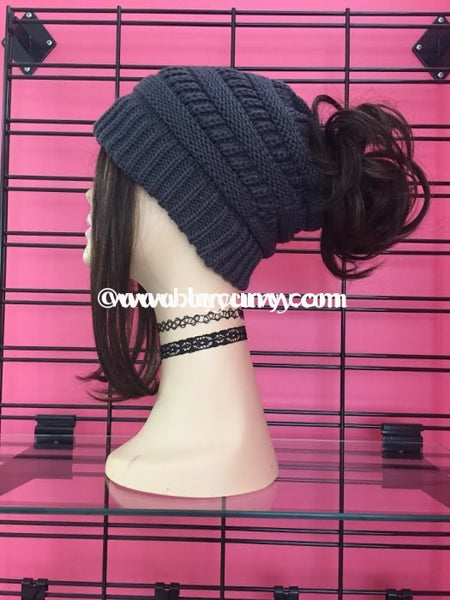 Hat C.c. Messy Bun Beanie Charcoal Hats