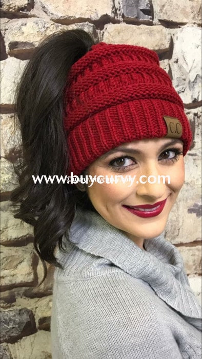Hat-C.c. Messy Bun Beanie Red Hats