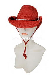 Hat-Red Straw Cowgirl Hat With Rhinestone Band Hats