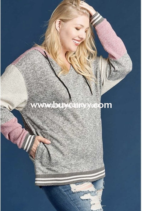 Hd-A {First Date} Gray & Plum French Terry Hoodie Hoodies