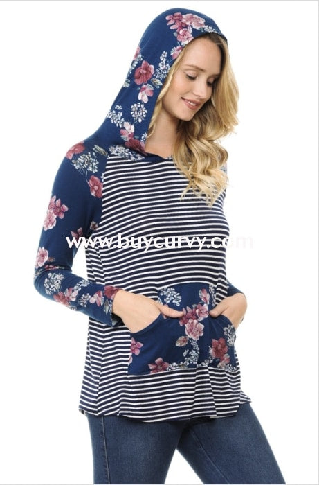 Hd-E {Exception To The Rule} Navy Floral Contrast Hoodie Hoodies