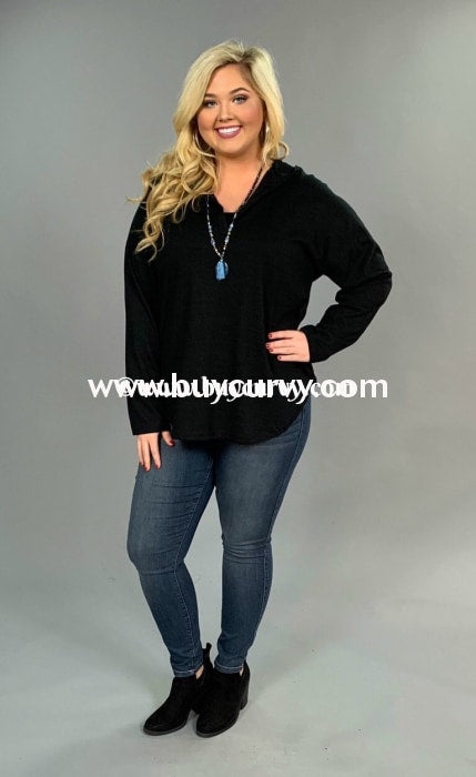 Hd-E {Such A Cutie} Black V-Neck Hi-Lo Sale!! (Runs Small) Hoodies