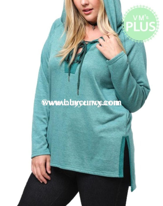 Hd-H Forest Green Long Sleeved Lace-Up Top Hoodies