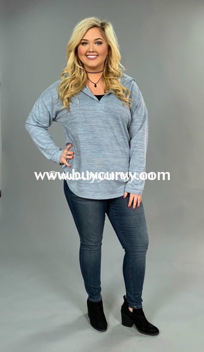 Hd-I {Such A Cutie} Slate Blue V-Neck Hi-Lo Sale!! (Runs Small) Hoodies