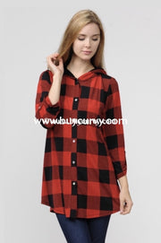 Hd-J {Hot Blooded} Red/black Plaid Button-Up Top With Hood Hoodies