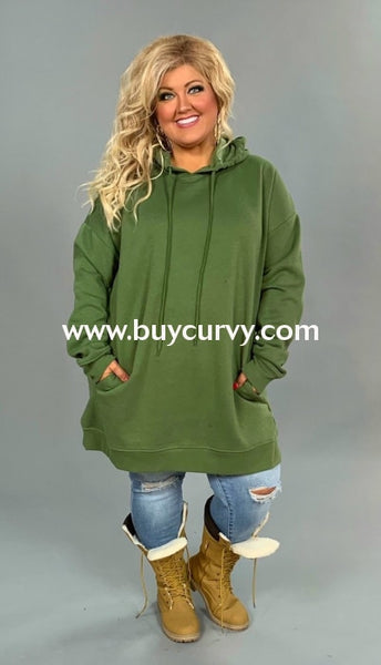 Hd-K {Lucky Girl} Olive Hooded Sweatshirt W/pockets Hoodies